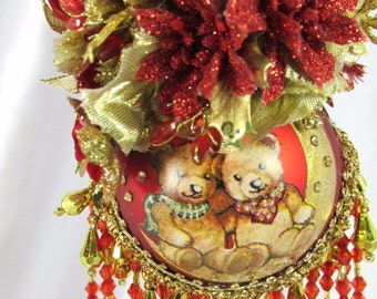 Red and Gold Cute Teddy Bear Couple  Victorian Beaded Christmas Ornament