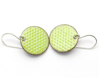 Green Enamel Earrings - Green Earrings - Pastel Green Enamel - Polka Dot Earrings - Green Dangle Earrings - Enamel Jewelry