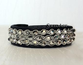 SwedArt B180 Milky Way, Swedish Sami Reindeer Leather Swarovski Crystals, Pewter Button Black MEDIUM