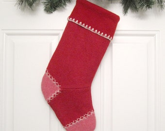 Red Knit Customized Christmas Stocking Personalized Holiday Decoration Handcrafted from Felted Wool Sweaters no754