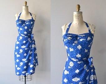 Greek Isles dress | vintage 1950s Kahala dress | silk 50s sarong dress