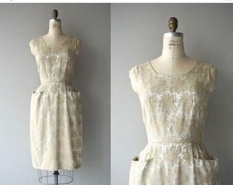 25% OFF.... Gilded Fronds dress   vintage 1950s silk brocade dress   golden brocade 50s dress