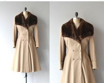 25% OFF.... Nakhodka coat | vintage 1950s coat | fur collar 50s princess coat