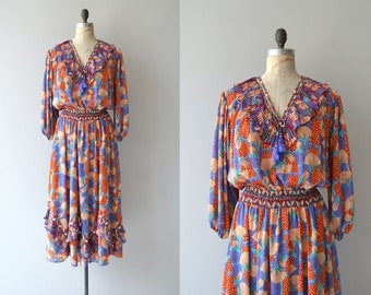 Diane Freis silk dress | bright floral 70s dress | 1970s floral print dress