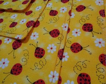 Yellow Ladybug Placemats 4 Reversible