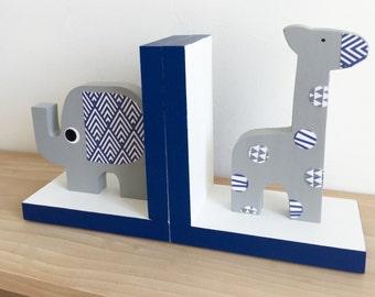 Gray and Navy Blue Safari Bookends, Children's Bookends, Elephant nursery, Giraffe Bookends, Safari Kids, Safari Nursery, Navy, Grey, White
