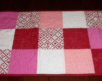 Valentine's Day, Handmade Runner, Quilted Table Topper, 16x26 Inches, Sale Priced, Fabric Centerpiece, Machine Quilted