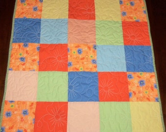 Quilted Table Runner, 26x26 inches, Square Table Topper, Sale Priced, Orange Floral, Machine Quilted, Dining Table Decor