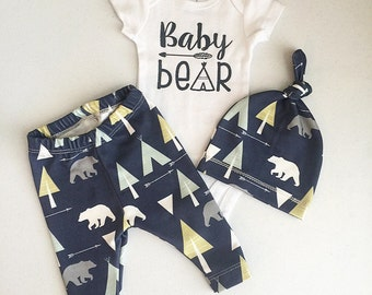 Newborn Baby Boy Coming Home Outfit, Boys Clothing, Pants Shirt with Matching Hat, Arrows, Tribal, Navy Blue, Mint, Baby Bear