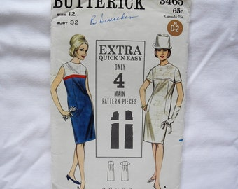 Vintage Butterick 3465 sewing pattern, one piece dress, A line, extra quick and easy, uncut, size 12, bust  32, 1960s