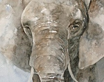 ORIGINAL painting watercolor painting original Watercolor painting watercolor animal painting Elephant painting art 8x10 CUSTOM COMMISSION