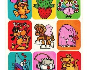Rare Vintage 80s Sangamon Matte Strawberry Scratch and Sniff Animals Sticker Sheet