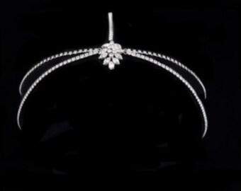 Crystal bridal forehead band crystal wedding band Art Deco Style Bridal 1920s Headpiece, wedding hair accessories