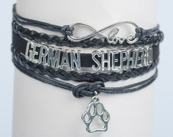 German Shepherd GSD Dog lover Black Handmade Infinity style Bracelet