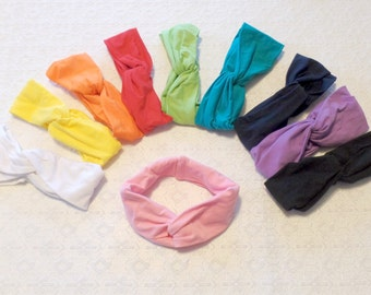 Preppy Boho Stretchy Wide Yoga Wrap Twist Headband in 10 Colors