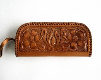 Gorgeous Vintage Hand Tooled Leather Wristlet Wallet Clutch Purse