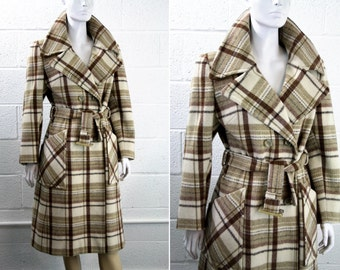 Vintage 1970's Cream and Brown Tones Plaid Women's Wool Trench Style Coat Jacket Outerwear