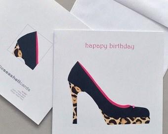 Birthday Shoe, For her, Feminine, Style, Fashion, Birthday Card, Sale