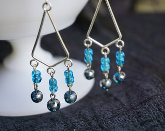 Turquoise, blue and green chandelier earrings
