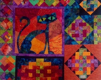 ORIGINAL Art Quilt Cats and Knots