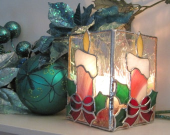 Peppermint Stained Glass Candle Holder Christmas Candles Christmas Decoration Christmas Candle Holder Glass Candle Holder Holiday Ornament