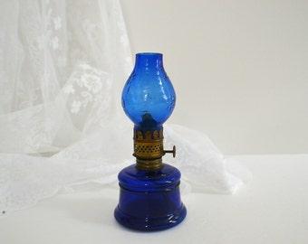 Antique Cobalt Blue  Nutmeg Miniature Kerosene Lamp With Shade -Cottage Farmhouse Decor