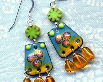 Enamel Earrings,  Amber Earrings, Sterling silver Earrings, Blue Amber Green Topaz Earrings, Unique Earrings, Handmade by AnnaArt72