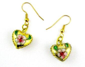 Cloisinne Heart Earrings Gold tone Pierced