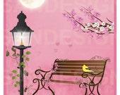 A Peaceful Mind Wall Art, cherry blossoms, digital print, moon, park bench, pink, girls room, flowers, nursery decor, children