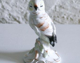 Lefton Porcelain Sleeping Owl Figure