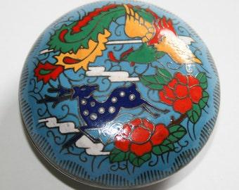 Blue Cloisonné Enamel Brass Pill Trinket Box