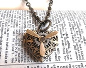 Steampunk Antique Silver Gear and Propeller Spinning Heart Locket Pendant with 18 inch Brass Ox Chain Necklace