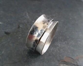 Spinner Ring in sterling silver, meditation ring, rustic spinner
