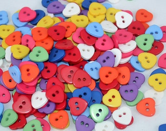 Heart Button Mix - 11mm - Set of 50 - #BUTTON266