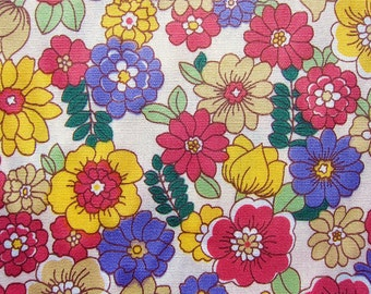 Floral Fabric By The Yard - Daisies and Blooms on Cream - Fat Quarter