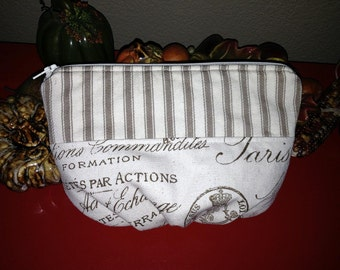 Make-up Bag- taupe stripe and Cream Inscription