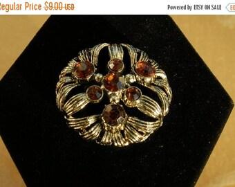 On Sale Vintage Rhinestone Brooch, Gold tone, #203