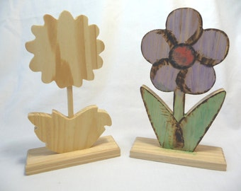 Wooden Flowers, Wood Cut Outs, Standing Flowers, Crafters Square, Two Flowers, Paintable, Craft Supplies, Art Supplies, Home Decor, Unique