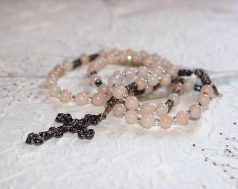 Little Girl's Pink Mountain Jade 1st Communion Rosary