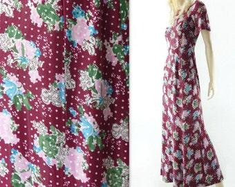 70s Maxi Dress Vintage 70s Dress Boho Maxi Dress 70s Floral Dress Floral Maxi Dress Burgundy Maxi Dress Floral 1970s Dress Summer Dress xs