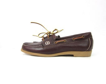 Deck Boat Shoes Brown leather Moccasins Preppy Lace Up Oxfords BOHO GRUNGE 90s loafers Vintage women's size 8.5 Dell's