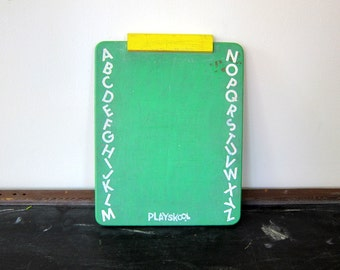 Playskool Chalkboard Vintage Childs Small green Chalkboard Wall Hanging Decor Office Desk Old School Writing List
