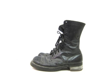 Corcoran Cap Boots vintage leather combat boots black 1960s Paratropper men's Army work boots Cats Paw lace up goth boots men's size 9.5 D