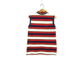 60s Mod Knit Top red white blue Striped Tank Top Mock Neck Sleeveless Sweater Top Zip Up Back Shirt 1960s Modern Top Women's Size XL Large