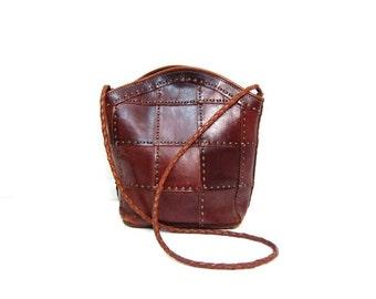 Hand Made Italian Leather Bag Vintage Ellepi Woven Leather Patchwork Tote Deep Brown Leather Shoulder Purse Hippie Boho Cross Body Bag