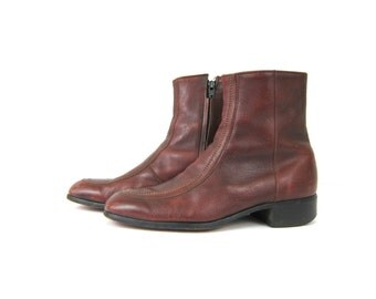 1970s Beatle boots Brown leather Boots with side zippers Hipster Shoes men's size 10