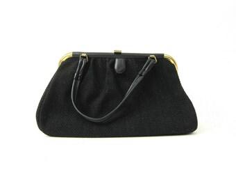 black fabric Handbag 1950's 1960's Mid Century MOD evening bag little black purse Louanne's Mad Men vintage
