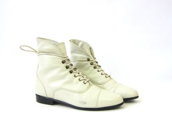 80s white leather ankle boots 1980s granny boots Vintage fold over Pippi booties women's size 6.5