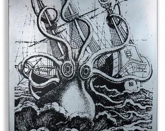 Attack of the Kraken Screenprinted Wall Art 16x20