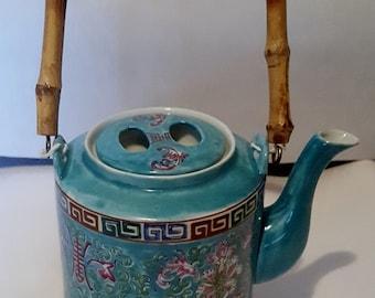 Tea Pot  Fine Bone China Tea Pot Antique Kutani Blue large size Bamboo Handle  on Sale Now Oriental Tea Pot Moriage Design Unused